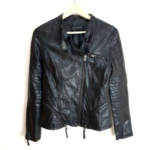 Zara Pleather Biker Jacket with Zipper Details